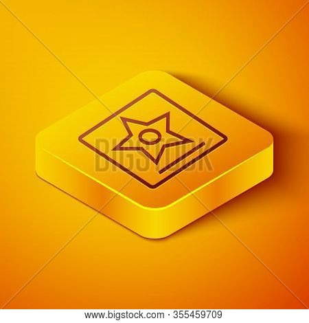 Isometric Line Hollywood Walk Of Fame Star On Celebrity Boulevard Icon Isolated On Orange Background