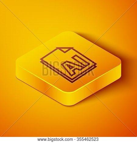 Isometric Line Ai File Document. Download Ai Button Icon Isolated On Orange Background. Ai File Symb