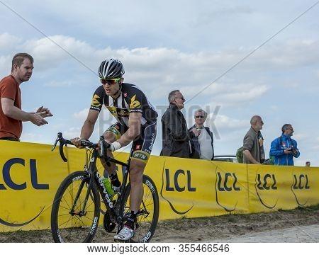 Gruson, France - April 12,2015: The South African Cyclist, Jay Robert Thomson Of Mtn-qhubeka Team, R