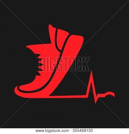 Red Cardio Running Shoe Symbol Silhouette On Black Backdrop. Design Element