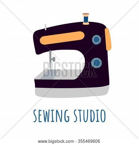 Logo Sewing Machine On A Flat Background In The Style Of A Flat. Black Cartoon Tool For Tailoring, S