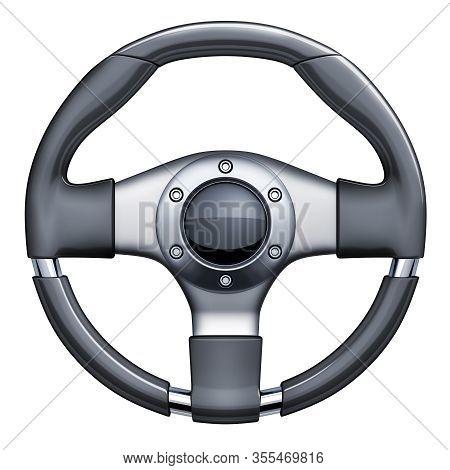 Steering Wheel Car On White Isolated Background. 3d Illustration