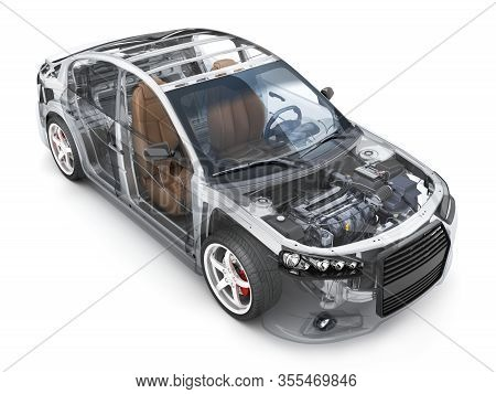 Transparent Body Car And Spare And Engine And Other Detail On White Background. 3d Illustration