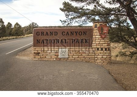 Grand Canyon Village, Arizona, Usa - February 16, 2020: Entrance Sign To The Grand Canyon National P