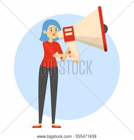 Woman Holding A Megaphone And Making Announcement