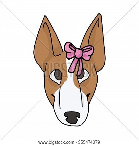 Cute Cartoon Bull Terrier Puppy Face Breed With Pink Bow Vector Clipart. Pedigree Kennel Show Dog Lo
