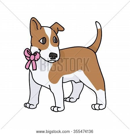 Cute Cartoon Bull Terrier Puppy Breed With Pink Bow Vector Clipart. Pedigree Kennel Show Dog Lovers.