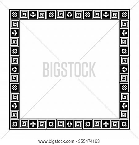 Classical Greek Meander, Square Frame, Made Of Seamless Meander Pattern. Decorative Border With Mean