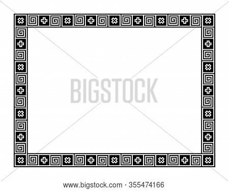 Classical Greek Meander, Rectangle Frame, Made Of Seamless Meander Pattern. Decorative Border With M