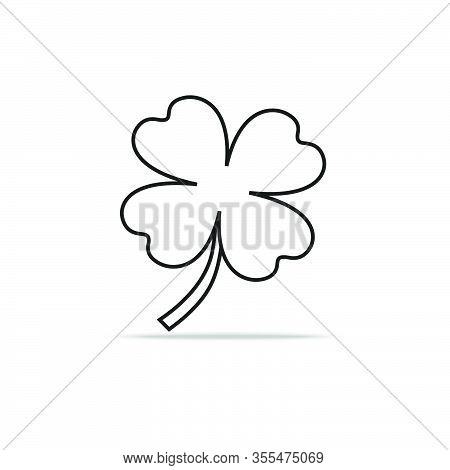 Green Shamrock Leaf Line Icon Isolated On White Background. You Can Shamrock Leave Use Design Your W