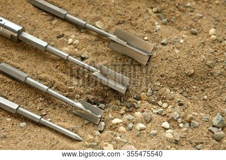 Vane Test For Soil Share Strenght Testings. Soil Sample Collected From Construction Geology Drilling
