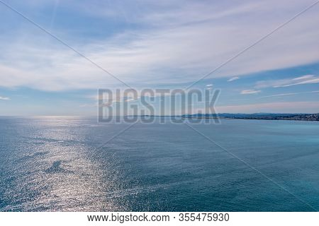 The Panoramic View Of The Mediterranean Sea And The Hazy Landscape On The Horizon On A Sunny Day (pr