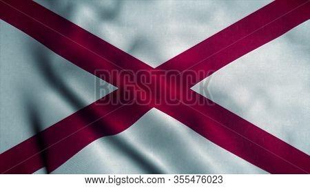 Alabama Flag Waving In The Wind. National Flag Of Alabama. Sign Of Alabama. 3d Illustration.