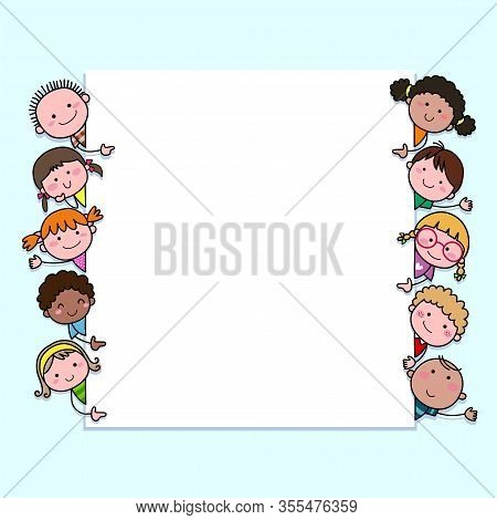 Hand-drawn Cartoon Kids Looking At Blank Sign With Copy Space. Background With Cute Cartoon Children