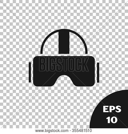 Black Virtual Reality Glasses Icon Isolated On Transparent Background. Stereoscopic 3d Vr Mask. Vect