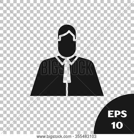 Black Lawyer, Attorney, Jurist Icon Isolated On Transparent Background. Jurisprudence, Law Or Court