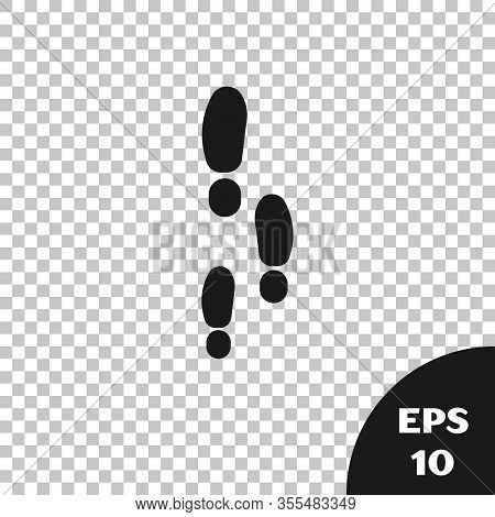 Black Footsteps Icon Isolated On Transparent Background. Detective Is Investigating. To Follow In Th