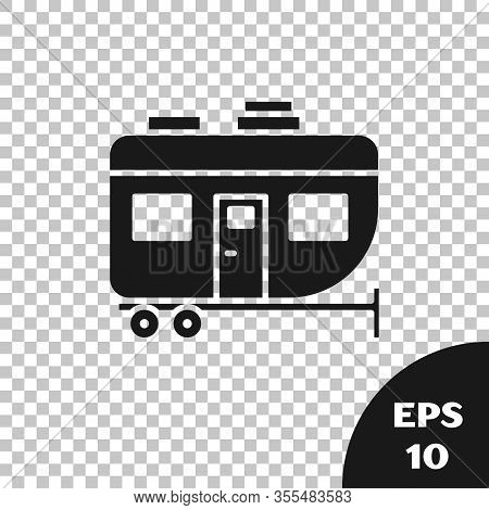 Black Rv Camping Trailer Icon Isolated On Transparent Background. Travel Mobile Home, Caravan, Home