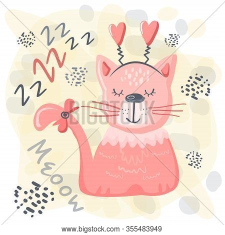 Cute Sleeping Cat Baby Pink Animal. Nursery Vector Cartoon Sleep Animal Grey Cat, Cute Print Illustr