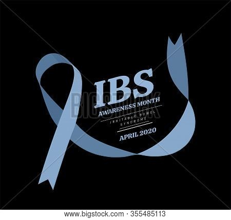 Irritable Bowel Syndrome, Ibs Awareness Month. Vector Illustration With Blue Ribbon