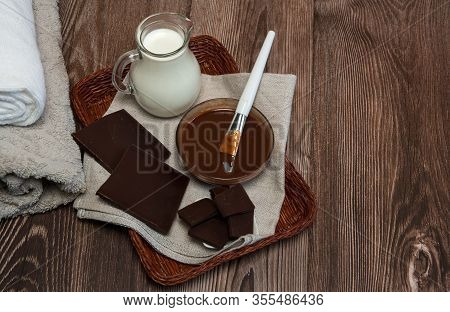 Natural Cosmetics. Spa Skin Care, Ingredients For Chocolate Wraps. Chocolate, Milk, Clean Towels, Re