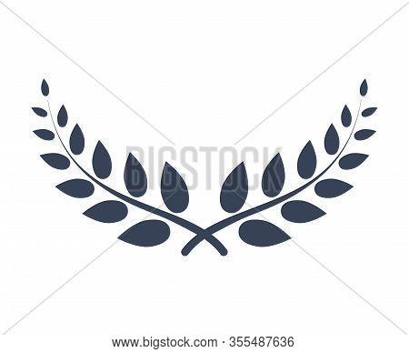Laurel Wreath Vector Award Branch Victory Icon. Winner Laurel Wreath Vintage Leaf Emblem. Champion G