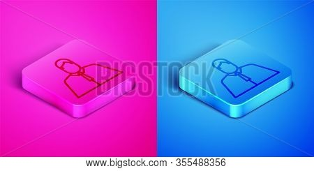 Isometric Line Lawyer, Attorney, Jurist Icon Isolated On Pink And Blue Background. Jurisprudence, La