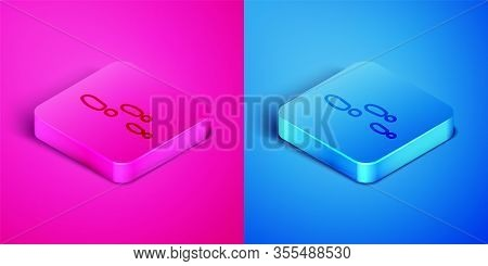 Isometric Line Footsteps Icon Isolated On Pink And Blue Background. Detective Is Investigating. To F