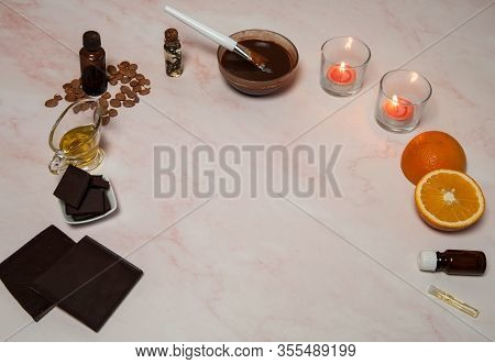 Natural Cosmetics. Spa Skin Care, Ingredients For Chocolate  Wraps. Chocolate, Apricot Seed Oil, Ora