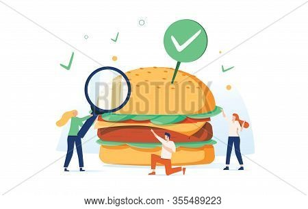 Vector Illustration, Food Quality Control, Fast Food Street Food. American Burger Biochemistry. Fast