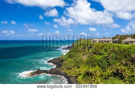 Aerial Panoramic Image Off The Coast Over Princeville And The Kenomene Ocean Sunset Overlook On Hawa