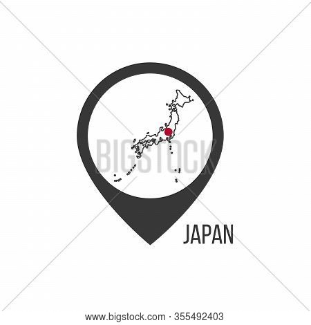 Map Pointers With Contry Japan. Japan Flag. Stock Vector Illustration Isolated On White Background.