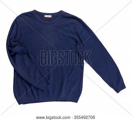 Knitted Blue Sweater Isolated On A White Background. Mens Sweater Under The Neck Top View . Casual S