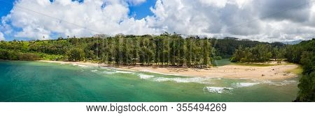 Aerial Panoramic Image Off The Coast Over Kalihawai Beach On Hawaiian Island Of Kauai