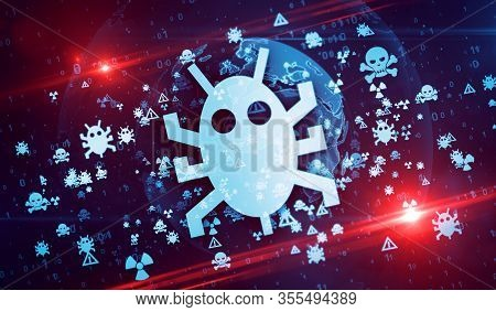 Worm. Cyber Crime, Hacker Attack, Virus, Computer Safety And Privacy Security Symbols On Digital Glo
