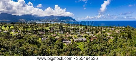 Aerial Panorama Of Princeville And Bali Hai With Hanalei Bay In Kauai In The Distance