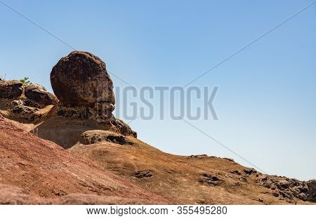 Large Rock Shaped Like The Face And Head Of A Gorilla On The Rim Of Waimea Canyon On Kauai