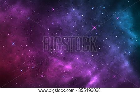 Space Background. Realistic Starry Night. Cosmos And Shining Stars. Milky Way And Stardust. Color Ga