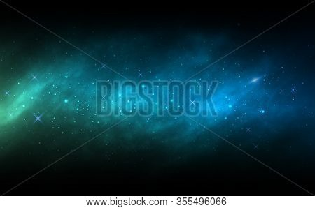 Space Background. Milky Way With Colorful Stars. Realistic Blue Nebula. Cosmic Backdrop With Stardus