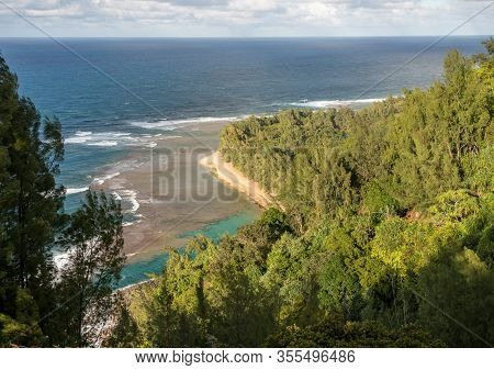 Aerial View Down Onto Kee Beach From Kalalau Trail On Na Pali Coast Of Kauai