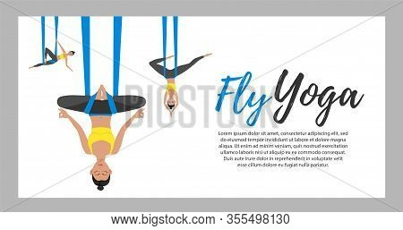 Beautiful Girl Wearing Sportwear Doing Fly Yoga Stretching Exercises. Anti-gravity Relaxing And Prac