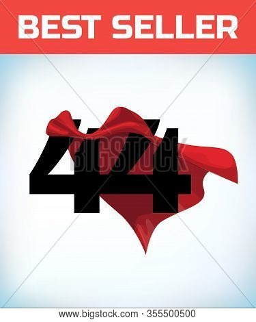 Arabic Number Forty Four In The Red Cloak Of The Winner Of The Super Hero. - Vector