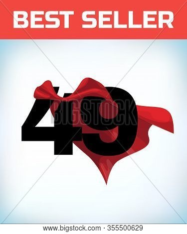 Arabic Number Forty Nine In The Red Cloak Of The Winner Of The Super Hero. - Vector