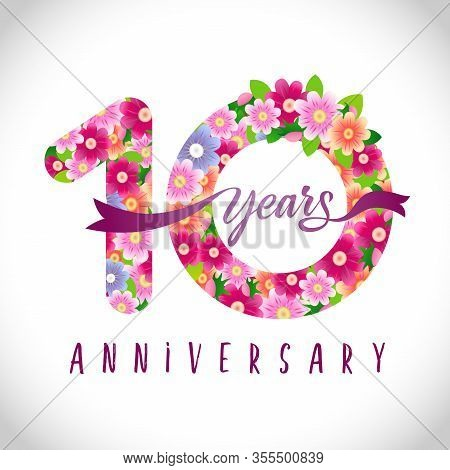 10 Th Anniversary Numbers. 10 Years Old Logotype. Floral Pink Congrats. Isolated Abstract Graphic De