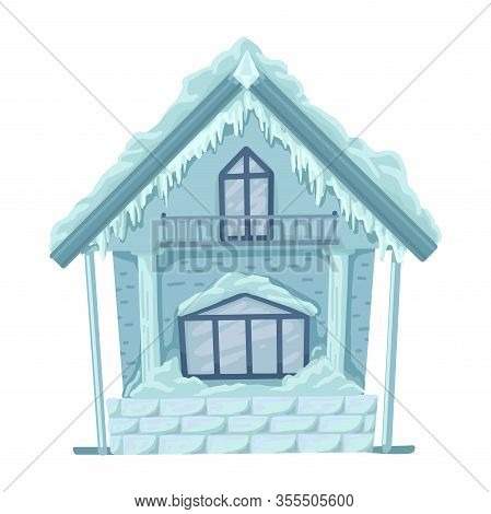 Ice Hut From Russian Fairytales. Vector Isolated Illustration.