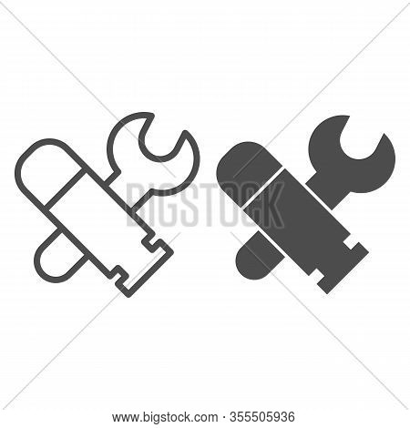 Military Engineering Line And Solid Icon. Army Engineer Tools, Wrench And Bullet Symbol, Outline Sty