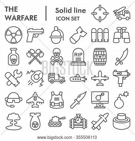 Warfare Line Icon Set. Military Signs Collection, Sketches, Logo Illustrations, Web Symbols, Outline