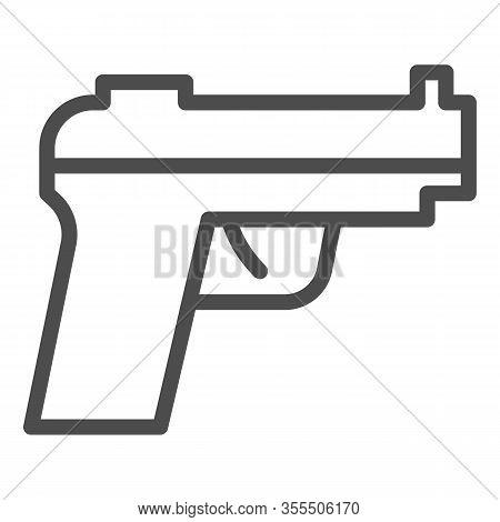 Pistol Line Icon. Firearm Or Handgun, Gangster Gun Symbol, Outline Style Pictogram On White Backgrou