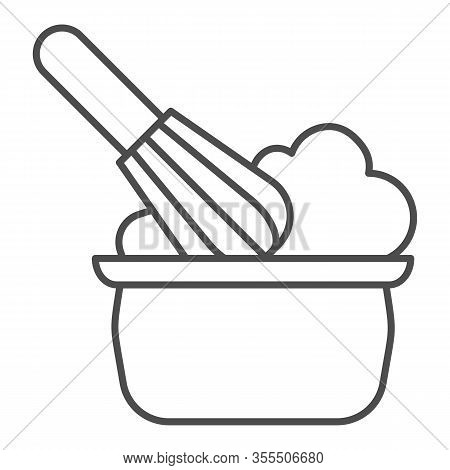 Manual Stirring Thin Line Icon. Whipping Cream Proces, Whisk And Bowl Symbol, Outline Style Pictogra