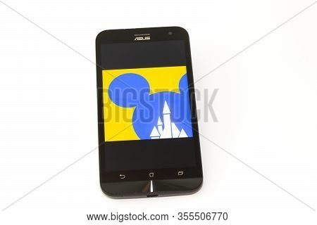 Kouvola, Finland - 23 January 2020: Disneyland Paris App Logo On The Screen Of Smartphone Asus